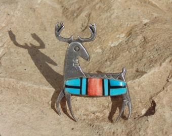 Native American ~ Sterling Silver Deer Pin with Turquoise and Spiny Oyster Inset