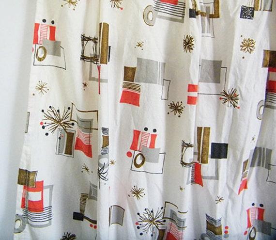 50s Vintage ATOMIC Curtains Pair Of 2 MidCentury Atomic