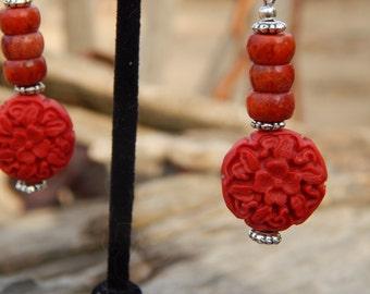 Cinnabar and Sponge Coral Earrings