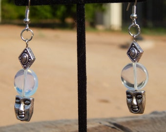 Opalite Earrings with Buddha Face