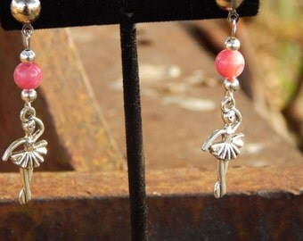 Pink Shell Earrings with Ballerinas