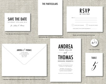 Custom Letterpress Wedding Invitations Suite Stationery - Bold Sophistication custom options - minimal simple Letterpress