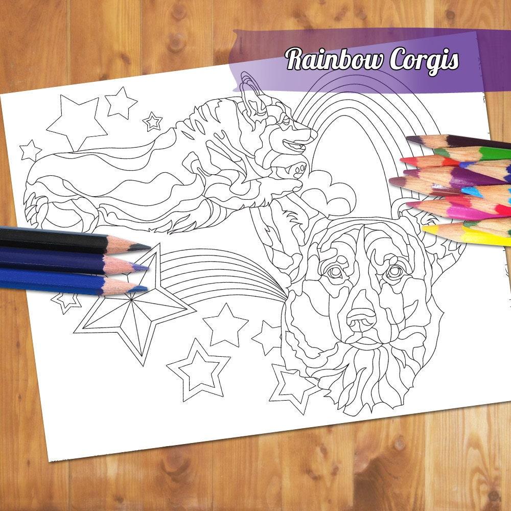 dog coloring page rainbow corgi coloring book