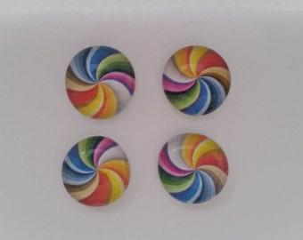 Rainbow swirl glass magnet set (set of 4)