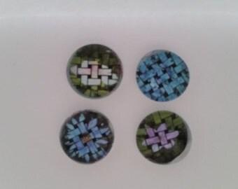 Basket Weave Flowers Glass Magnet Set (set of 4)