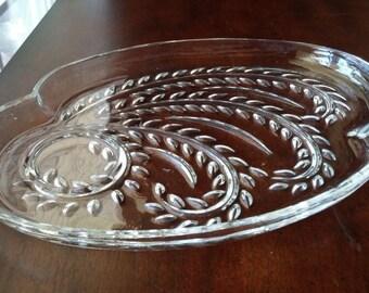 SALE***Crystal Platter, Leaf Design