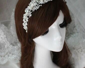 Vintage Style Crystal Pearl Wedding Tiara Headband Ivory Vintage Style Bridal Headband Tiara Headband