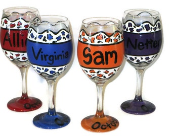 Bridesmaid Gift, Bridesmaid Wine Glasses, Bridesmaid Cheetah Print Wine Glasses, Cheetah Print Bridesmaid Gifts, Bridesmaid Gifts, Cheetah