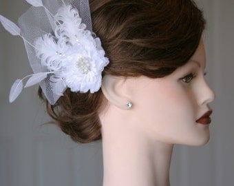 White Feather Flower Fascinator Hair Clip w/ diamond rhinestone accents