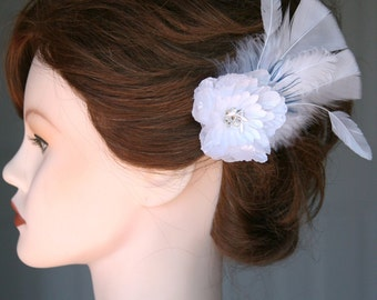 "Bridal Flower & Feather Hair Accessory w/ Peacock ""Something Blue"""