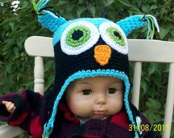 Crochet Baby Hats-high fashion baby hats, crochet owl hats, baby beanies, baby ear flap hats - Owl Hat, baby accessory, fall-winter hats