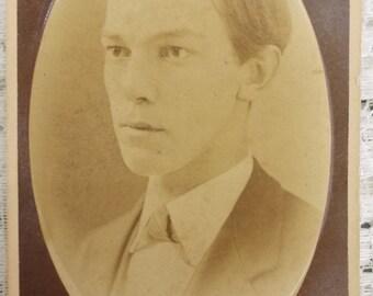 Antique CDV Carte de Visite photograph handsome young man by Cadwallader of Marietta