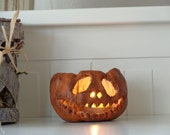 Spooky Jack o lantern, Halloween pumpkin decoration, Spooky candle holder, Halloween lantern