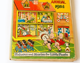 Childrens BookTiny Tots Annual 1950 and 1951  English Antique Childrens Annual