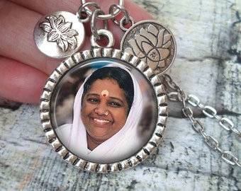 Ammachi, The Hugging Saint, Mata Amritanandamayi, Amma, Divine Mother Necklace In Antique Silver with Lotus Flower Charms