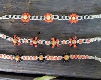 Halloween Bracelet, Orange and Black Glass Bead Hemp Bracelet, Beaded Hemp,Halloween Flower Bracelet, Fall Autumn Bracelet, 3 for price of 2