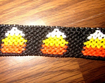 Candy Corn Halloween Macrame Friendship Bracelet