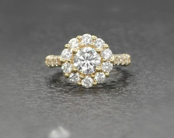 Flower Cluster Diamond Ring in 14K Yellow Gold