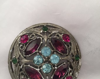 Vintage Sarah Coventry Brooch, purple, blue and green rhinestones