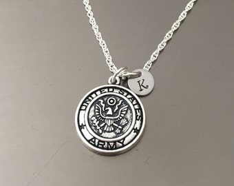 United States Army Charm Hand Stamped Sterling Silver Necklace