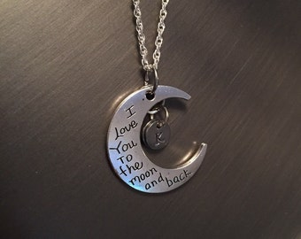 I Love You To The Moon and Back charm with personalized handstamped initial pendant.