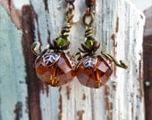 Pumpkin Earrings, Pumpkin Jewelry, Orange Beads, Green Swarovski Crystals- Copper Leaf Bead Caps,- Fall Jewelry, Jewelry for Her