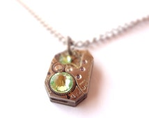 Steampunk Necklace Vintage Clockwork Jewelry & Pale Green Crystals