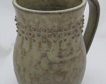 Handmade Rustic Ceramic Coffee Mug, Wheel Thrown Tea Mug, Taupe Pottery Cocoa Mug
