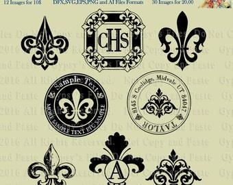 Fluer di Lis, Mardi Gras, Wedding, Monogram,Circular, Frames, Clipart,  Vector, Cutting file, Cameo Silhouette, Cricut, png, svg,ai,eps, dxf