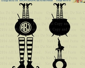 Witch and Cauldron Web, Monogram, Circles, Halloween Circle Frames, Clipart, Vector, Cutting file, Blank Logo, png, svg,ai,eps, dxf