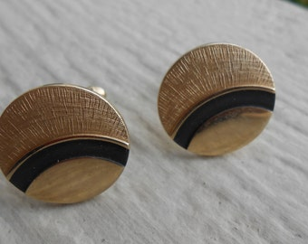 Vintage Gold & Black Abstract Cufflinks. 1980s.