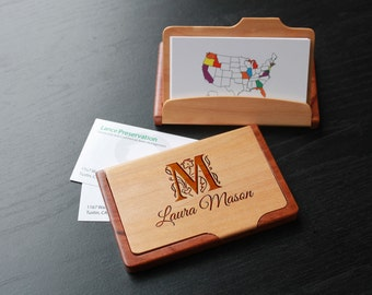 Personalized Business Card Holder, Custom Business Card Holder, Engraved Business Card Holder, Business Card holder --BCH-MR-MASON