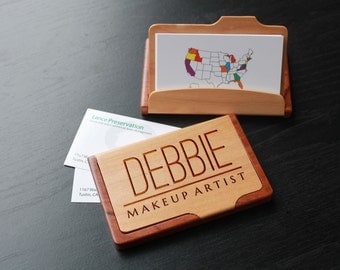 Personalized Business Card Holder, Custom Business Card Holder, Engraved Business Card Holder, Business Card holder --BCH-MR-DEBBIE