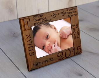 Baby Picture Frame, Walnut Picture Frame, New Born Picture Frame, Baby Gifts, Walnut Picture Frame, Custom Baby Gifts --PF-WAL-ETHAN