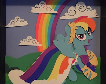 Rainbow Dash FREE SHIPPING in USA Grand Galloping Gala My Little Pony Shadowbox