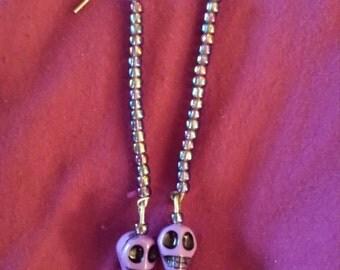 Purple Skull Earrings!