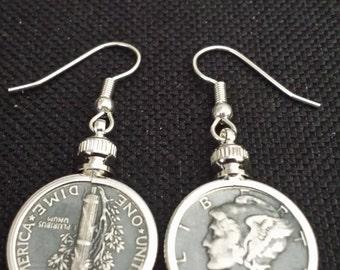Bezeled Mercury Dime Earrings