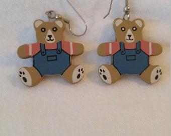 Teddy Bear Painted on Fiberboard Light Weight Hook Earrings