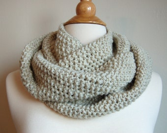 Natural Cream Infinity Scarf Hand Knit Cowl Neckwarmer