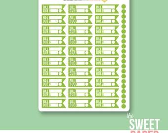 Bill Reminder Planner Stickers | Green