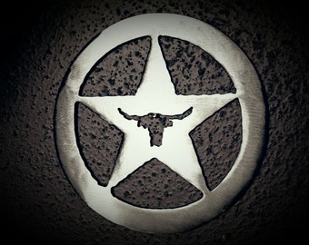Texas star with Longhorn in Circle.