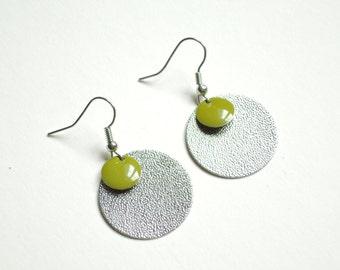 Olive green pellets earrings