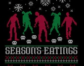"""Unisex """"Season's Eatings"""" Zombie Horror Ugly Christmas Holiday Sweater Long Sleeved T-Shirt *FREE SHIPPING*"""