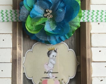 Baby Headband, Large Flower Chevron Headband With Rhinestones, Newborn Girl, Cake Smash, Photo Prop, 1st Birthday Girl, Any Size, Blue/Grn