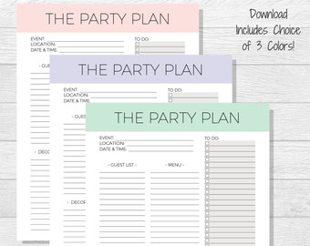 Party Planner Printable - Party Organization - Party To Do List - Planner Printable - The Party Plan - Party Checklist - Minimalist