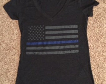 Ladies Thin Blue Line Soft V-Neck