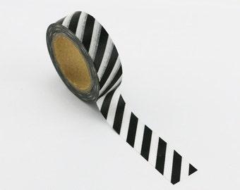 Washi Tape, Black & White Diagonal, 15mm x 10m