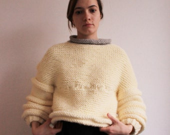 READY TO SHIP! Oversized knitted sweater. Soft yellow woman sweater.