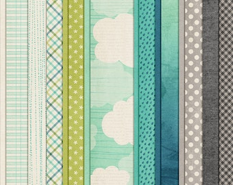 Drip, Drip, Drop - Spring Digital Papers - 12 x 12 - Scrapbooking Pack - Perfect for Rainy Days!