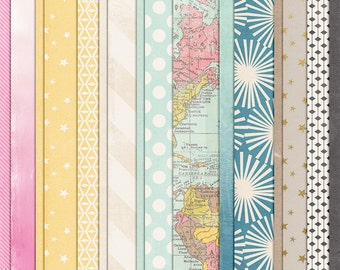 Hello, Darling - Modern Digital Paper Scrapbooking Pack - Perfect for Travel or Vacation Pages!